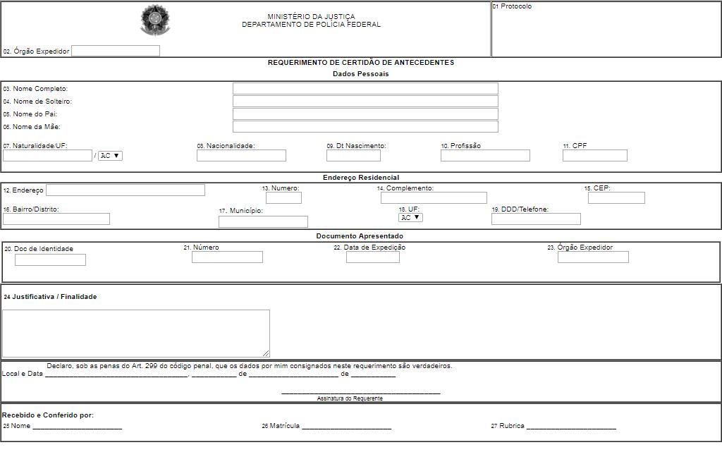 certidão de antecedentes polícia federal